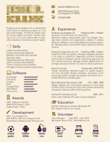 old resume designed with icons